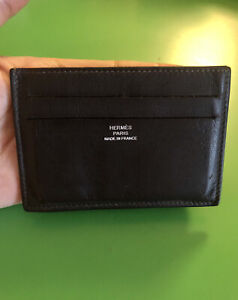 HERMES Dark Brown Citizen Twill Cardholder / Card Case Good Condition