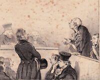 Lithographie Caricature Honoré DAUMIER Justice Tribunal Magistrat Avocat 1839