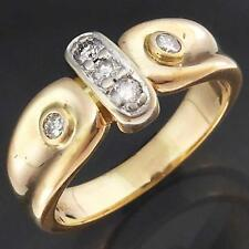 Sculptural Setting Solid 9k Yellow & White GOLD 5 DIAMOND ETERNITY RING Sz N