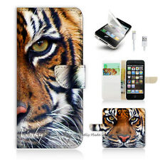 ( For iPhone 5 / 5S / SE ) Wallet Case Cover! Tiger Face P0029