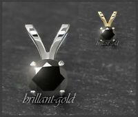 Anhänger 585 Gold Saphir schwarz 3,4,5,6 mm, 14 Karat Goldanhänger für Damen NEU