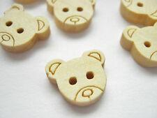"10 Teddy Bears Buttons, Small Bear Heads 13mm (1/2"") Childrens Baby Bear Buttons"