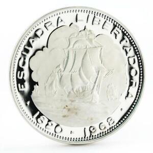 Chile 10 pesos Escuadra Libertadora Ship proof silver coin 1968