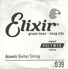 ELIXIR Cordes  à l'unité Anti Rust Plain Guitare Acoustique 039