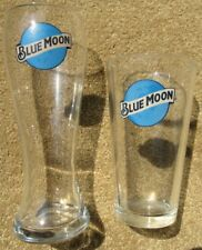 BLUE MOON Beer Pint Glasses Brand New EXC COND 16oz 2 Different Brewing Glass