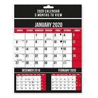 2020 Three Months To View Spiral Bound Wall Calendar Planner