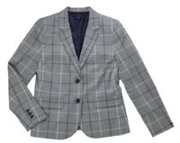 Tommy Hilfiger Women's Gray Plaid Dress Blazer Jacket Ret $139.50 New