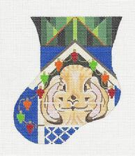 Bunny Decorating Hutch Mini Sock HP Needlepoint Ornament by Kamala from Juliemar