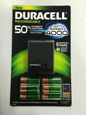 Duracell Charger with 8 AA and 4 AAA Rechargeable Batteries-Recharge up to 400X