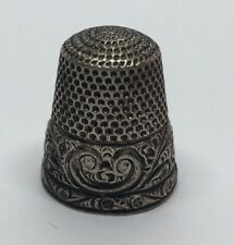 Vintage Sterling Silver Thimble 925 Flowers Antique
