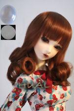 "7-8"" 1/4 BJD Medium Powder Brown Curl Wig LUTS Doll SD MSD Dollfie Soom Hair AL#"