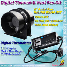 "Hydroponic Digital Temperature Controller Thermostat 6"" Vent Fan Ventilation Kit"