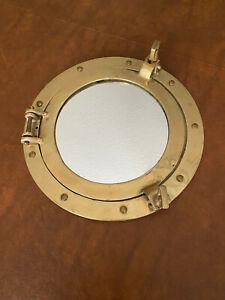 "Antique Brass Porthole Mirror 10 1/2"" Nautical Wall Decor"