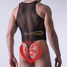 Sexy Men's Lingerie Mesh Sheer Open Front Bodysuit Thongs Leotard Underwear XL