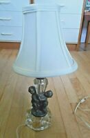 Vintage Heavy Metal Twin Cherubs Table Lamp with Glass Crystal Base