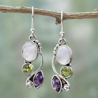 Women Natural Rainbow Moonstone Amethyst Dangle Hook Earrings Wedding Jewelry~