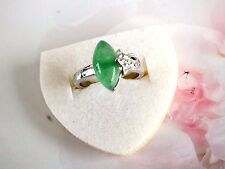 CHINESE DARK GREEN EYE JADE SILVER PLATED WOMEN RING UK N US 6.75 14 54 PARTY M