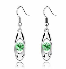 Cute New White Gold Plated Lime Green Peridot Crystal CZ Dangle Drop Earrings