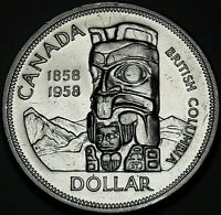 1958 CANADA SILVER DEATH DOLLAR TOTEM PROOF LIKE CHOICE UNC GEM BLAST WHITE (DR)