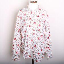 Crazy Horse Flower Print Long Sleeve Button Down Shirt Women's Size L
