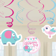 6 Pink Girl's Baby On Your Christening Day Fête Hanging Swirl Decorations