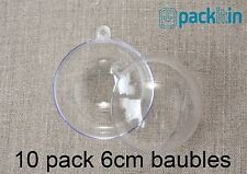 6cm (x10 qty) Clear Acrylic Two Piece ROUND Baubles Balls christmas ornaments