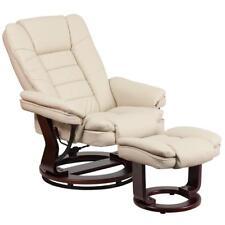Contemporary Leather Stressless Recliner Ottoman Integrated Headrest Softness
