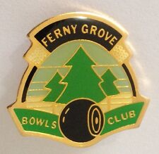 Ferny Grove Bowling Club Badge Pin Vintage Lawn Bowls Pine Trees (L35)