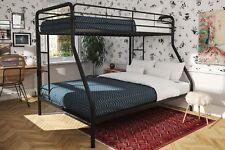 Bunk Bed For Kids Room Girls Boys Bunked Beds Metal Frame Twin Over Full Black
