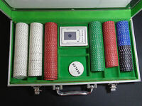 Professional Grade Casino Style Poker Set Aluminum Box Chips + Playing Cards