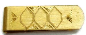 Vintage Honeycomb Money Clip Wallet Credit Card Cash ID Holder Gold Tone