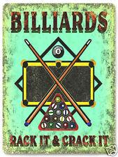 BILLARDS metal SIGN POOL table GAME ROOM wall decor mancave  GREAT GIFT 242