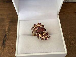 Gorgeous Gold Sterling Silver Swirl Garnet Gemstone Cluster Ring Sz 6 CA Signed