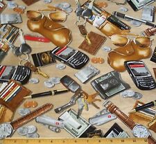 Man Cave Pocket Change Fabric Fat Quarter Money Wallet Keys phone I Spy