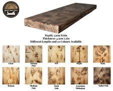 Rustic Floating Shelf Wood Solid Chunky Handmade with Brackets Burn Wood Effect