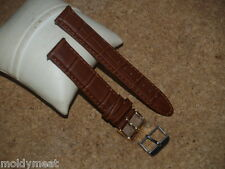 QUALITY 20mm EXTRA LONG BROWN CROC GRAIN LEATHER WATCH STRAP & 2 BUCKLES