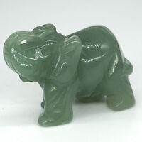 Green Aventurine Elephant Statue Healing Crystal Natural Gemstone Reiki Figurine