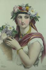 Grande Lithographie Couleur 19 ème Portrait de Femme  La perle du Brésil Brazil