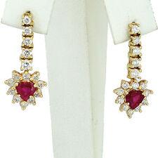Natural Red Ruby Dangling Diamond Earring 2.52carat 14k White