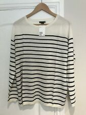 H&M Ladies White Stripe Fine Knit Jumper. Small. New Tagged