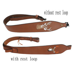 Tourbon Rifle Slings Gun Strap Leather Swivels 2 Points Hunting 2 Styles Option