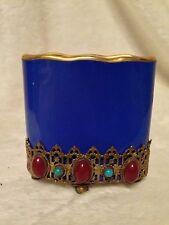 *RARE* Antique MEISSEN Cobalt Ornate Toothpick Card Holder Turquoise STONES