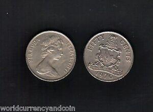 BERMUDA 50 CENTS KM-19 1970-1978 x 10 Pcs Lot QUEEN ARMS CARIBBEAN MONEY COIN