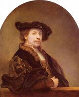 Dream-art Oil painting Rembrandt - Artist self-portrait on canvas handpainted