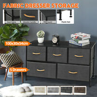 Fabric Dresser Chest 5 Drawers Furniture Bedroom Storage Organizer Wooden Top US