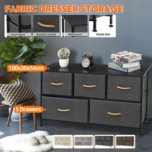 Fabric Dresser Chest 5 Drawers Furniture Bedroom Storage Organizer Wooden Top US