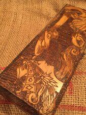 Antique Scrimshaw like Tramp Art Carved Flemish Wooden Box Hinged Lid Gypsy Head
