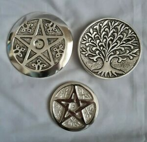 Ash catcher with pagan design. coaster; pagan; wicca; pentagram; tree of life