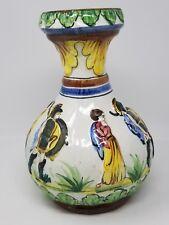 Vintage Handpainted Italian Pottery Vase - Raised Relief Roman  Soldiers