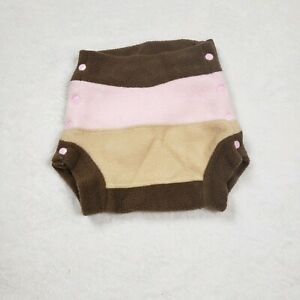 Brown Pink Snap Fleece Cloth Diaper Cover Large